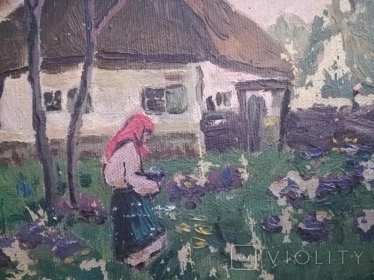 """Картина """" В огороде"""" 1960е.г, фото №4"""