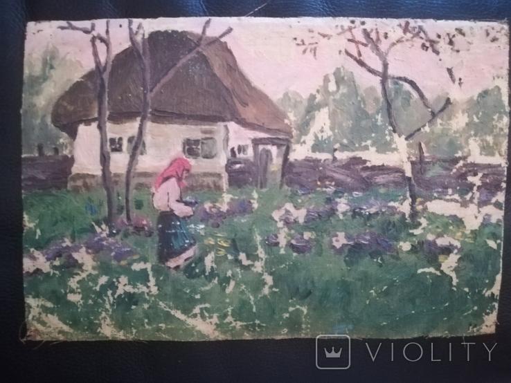 """Картина """" В огороде"""" 1960е.г, фото №2"""