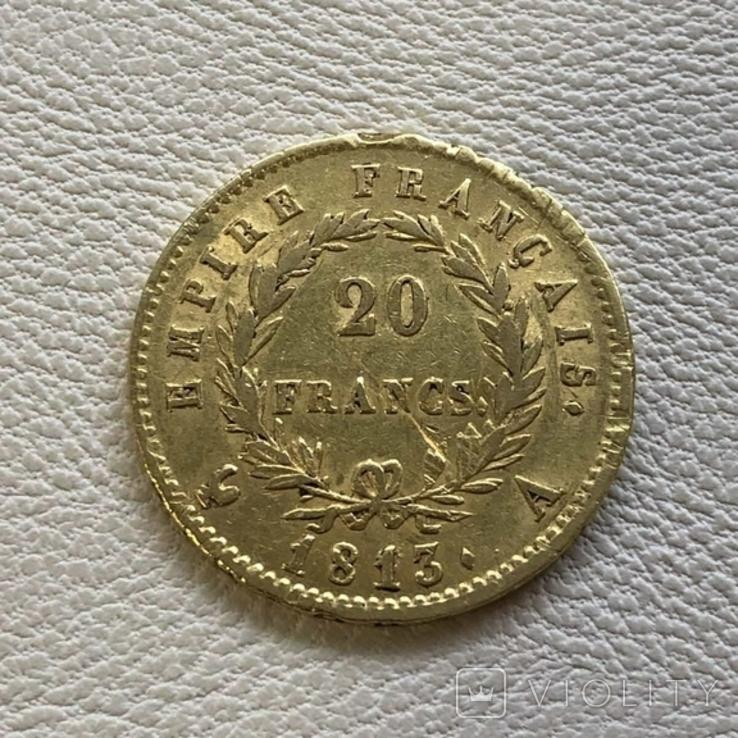 Франция 20 франков 1813 год 6,45 грамм золота 900, фото №3