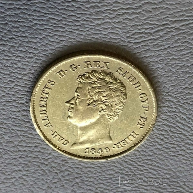 Италия 20 лир 1849 год Сардиния 6,45 грамм золота 900, фото №2