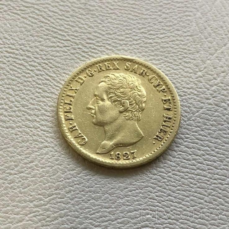 Италия 20 лир 1827 год Сардиния 6,45 грамм золота 900