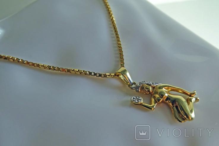 """Цепочка с подвеской """"Дева"""". Золото, бриллианты. Клейма., фото №5"""