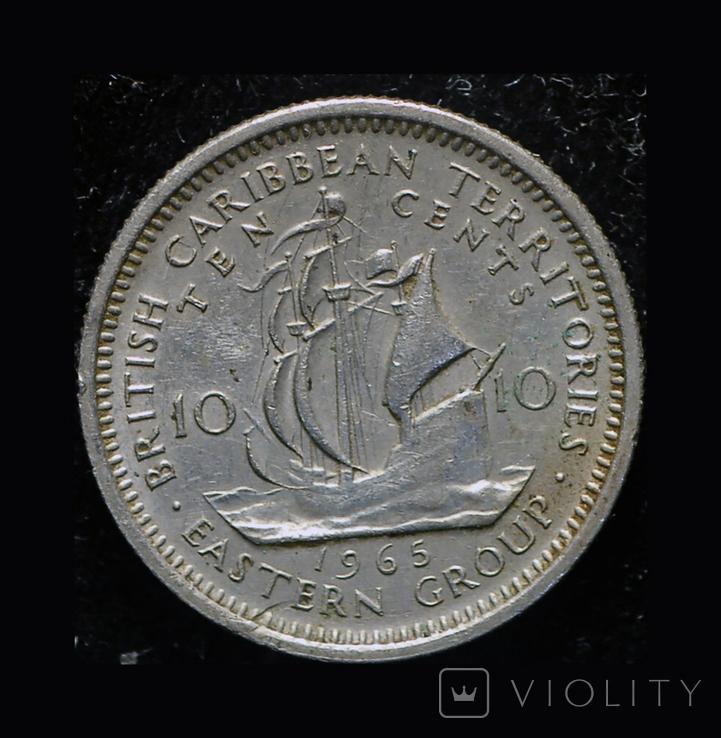 Британские Карибы 10 центов 1965, фото №2