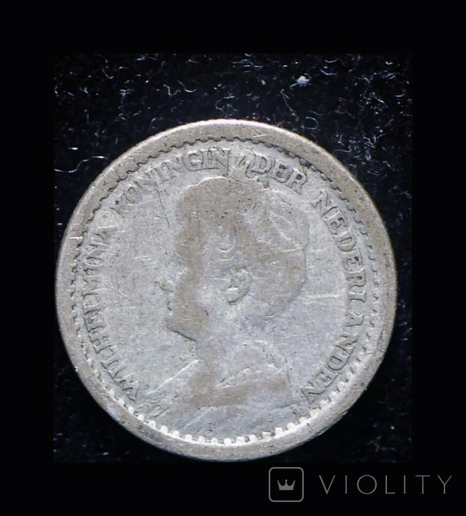 Нидерланды 10 центов 1918 серебро, фото №3
