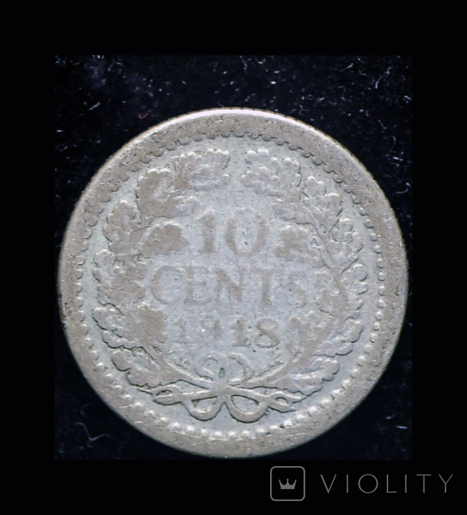 Нидерланды 10 центов 1918 серебро, фото №2