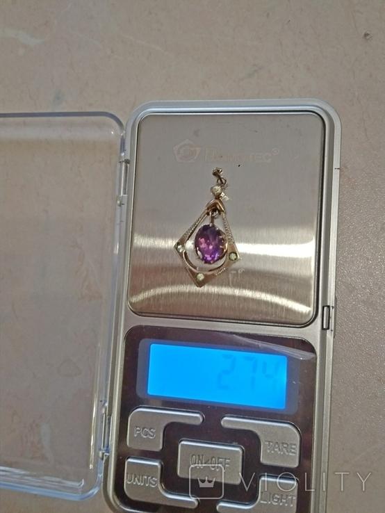 Комплект с аметистами,кулон-серебро и золотые серьги., фото №6