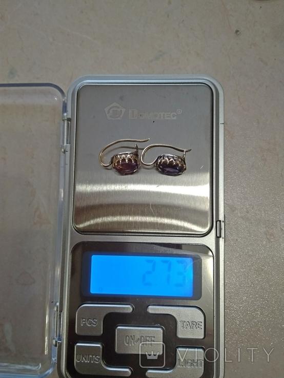 Комплект с аметистами,кулон-серебро и золотые серьги., фото №7