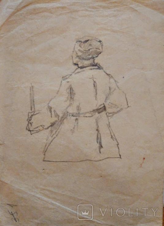 """Одесса,К.Ломыкин""""2 наброска солдата"""",б.карандаш,20х30см, фото №3"""