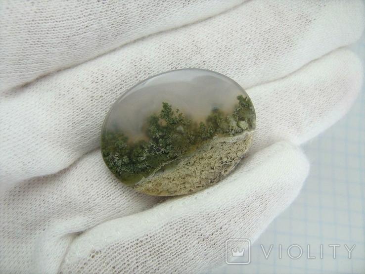 Натуральный пейзажный моховый агат. Индонезия. 164, фото №3