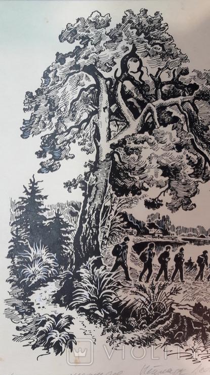 Неймарк Л. Літо туристичне 1983р. малюнок туш, фото №2
