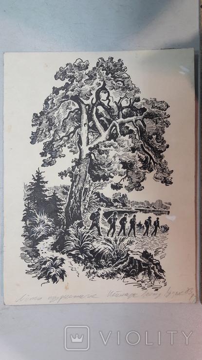 Неймарк Л. Літо туристичне 1983р. малюнок туш, фото №3
