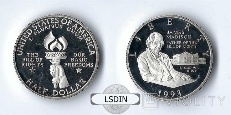 США 1/2 доллара 1993 Медисон Пруф серебро