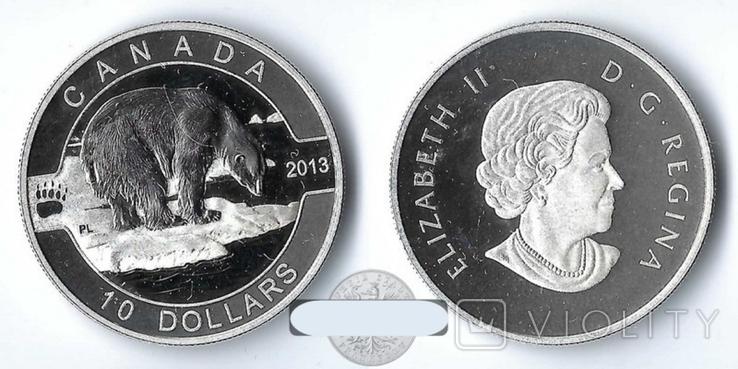 Канада 10 долларов 2013 Белый Медведь серебро Пруф