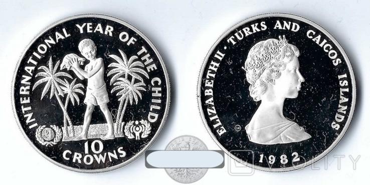 Теркс и Кайкос 10 крон 1982 ПРУФ серебро