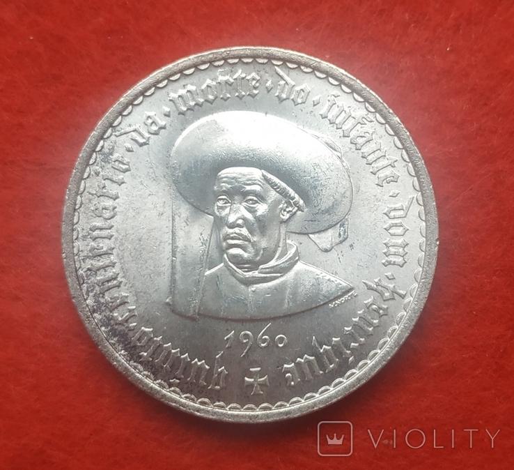 Португалия 20 эскудо 1960 серебро Юбилейные, фото №2