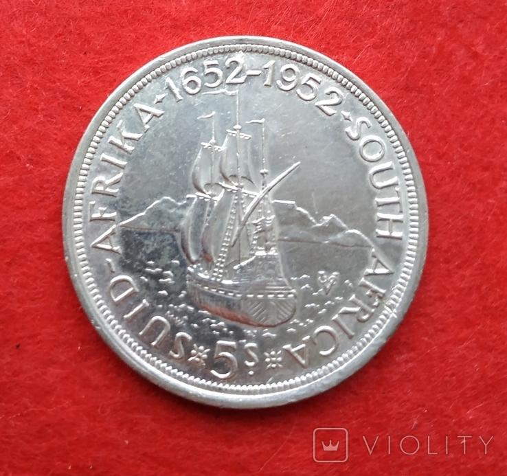 Британская Южная Африка 5 шиллингов 1952 Парусник СЕРЕБРО Георг VI, фото №2