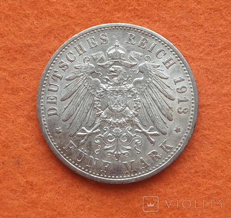 Германия 5 марок 1913 Мундир серебро Юбилей СОХРАН, фото №3