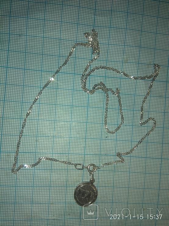 Серебряная цепочка с кулоном Телец, фото №5