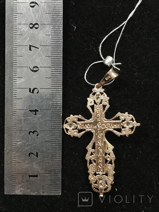 Золотой крестин с биркой, фото №3