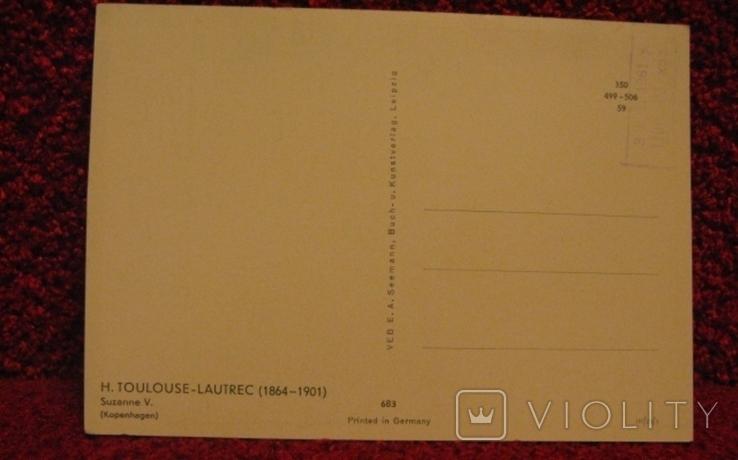 Открытка Германия, немецкая, Toulouse-Lautrec (Тулуз-Лотрек), 59г., фото №3
