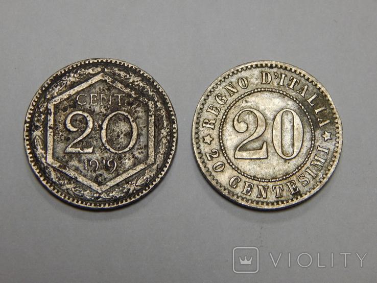 2 монеты по 20 центесими, Италия, фото №2