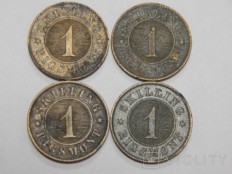 4 монеты по 1 скиллингу, Дания, фото №2