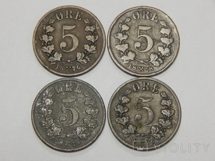 4 монеты по 5 оре, Норвегия, фото №2