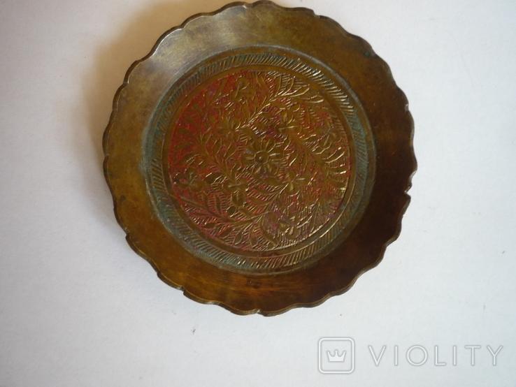 Бронзовая старая пепельничка индия, фото №2