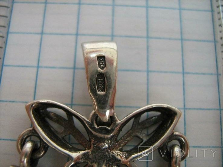 Серебряный Кулон Подвеска Подвижная Бабочки Камни Фианиты Серебро 925 проба 132, фото №6