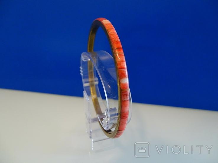 Винтажный браслет-обруч. Латунь, коралл., фото №5