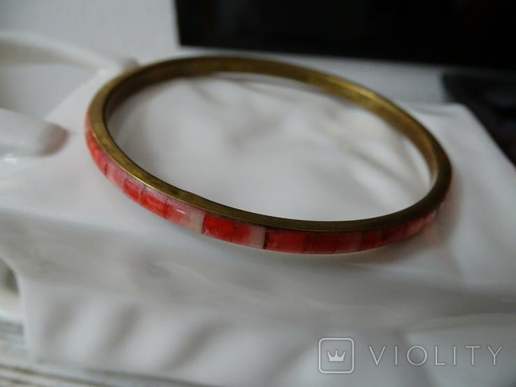 Винтажный браслет-обруч. Латунь, коралл., фото №8