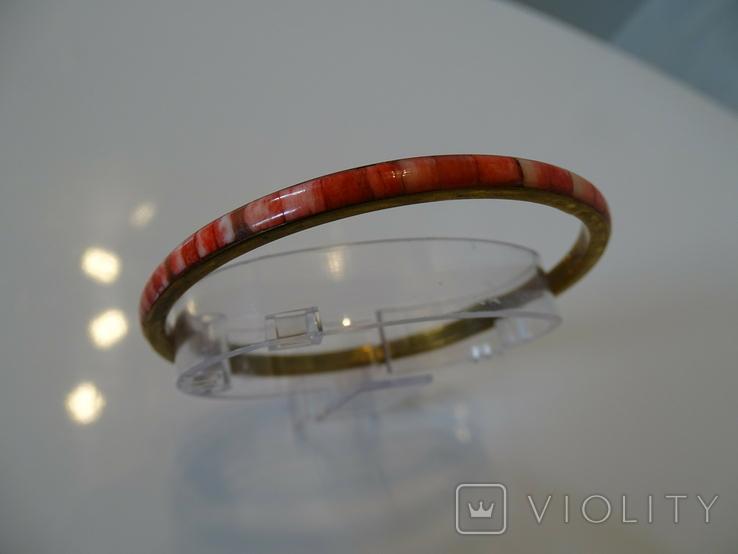 Винтажный браслет-обруч. Латунь, коралл., фото №9