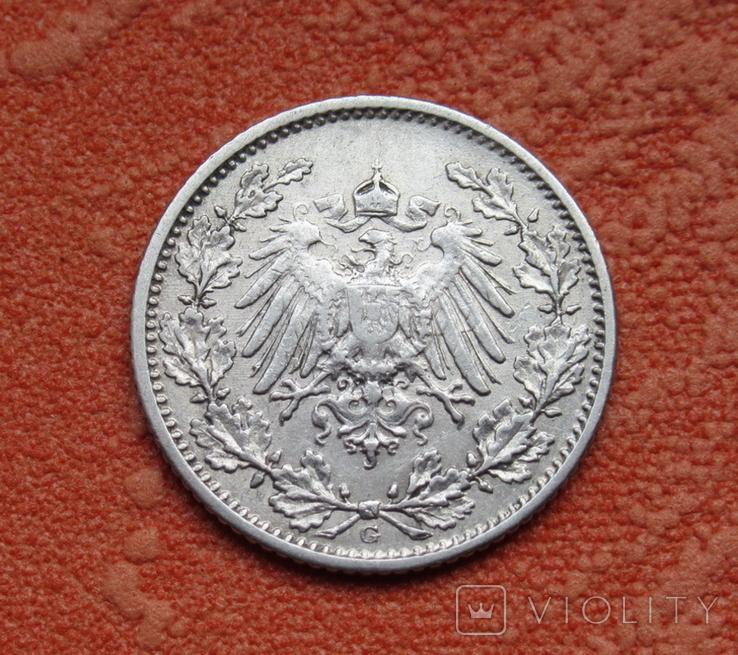 1/2 марки 1907 г. (G) Германия, серебро, фото №5