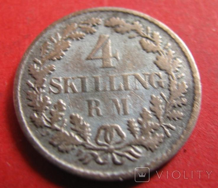 Данія  4  скіллінга  1854, фото №2