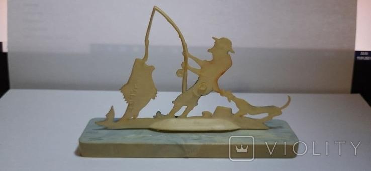Сувенир Рыбалка Рыбак 1960г пластмасса, фото №4