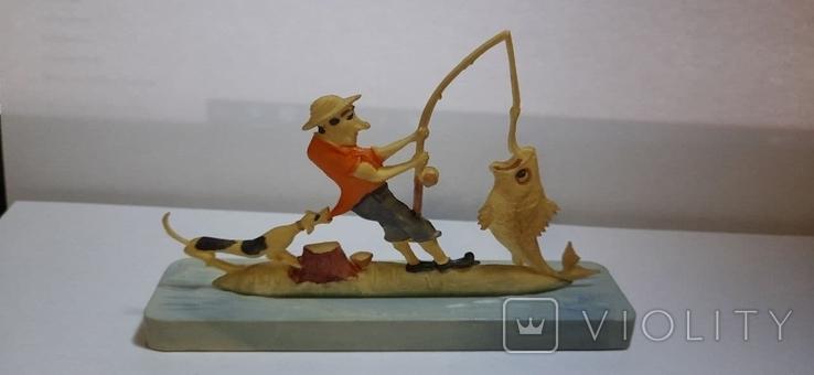Сувенир Рыбалка Рыбак 1960г пластмасса, фото №2