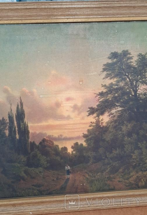 Картина закат солнца. Репродукция на картони 1971 год., фото №5