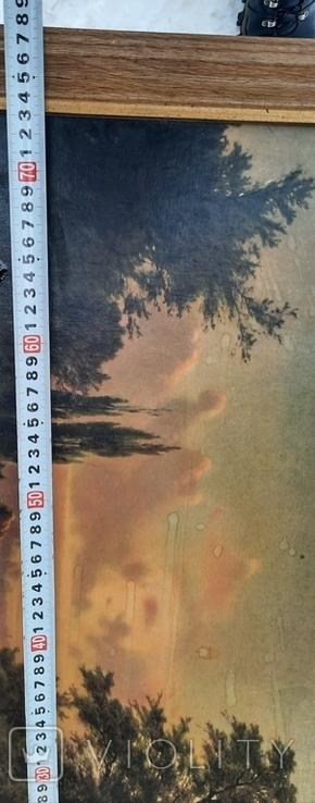 Картина закат солнца. Репродукция на картони 1971 год., фото №7