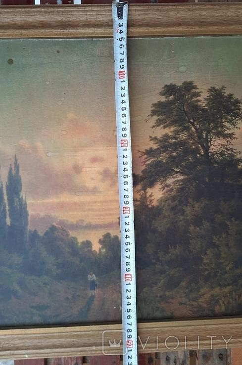 Картина закат солнца. Репродукция на картони 1971 год., фото №8