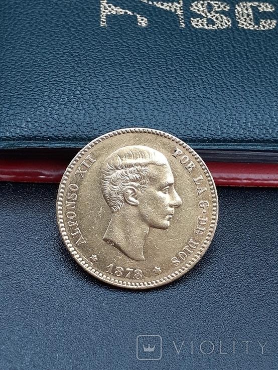 25 песет 1878. Испания. Золото., фото №4