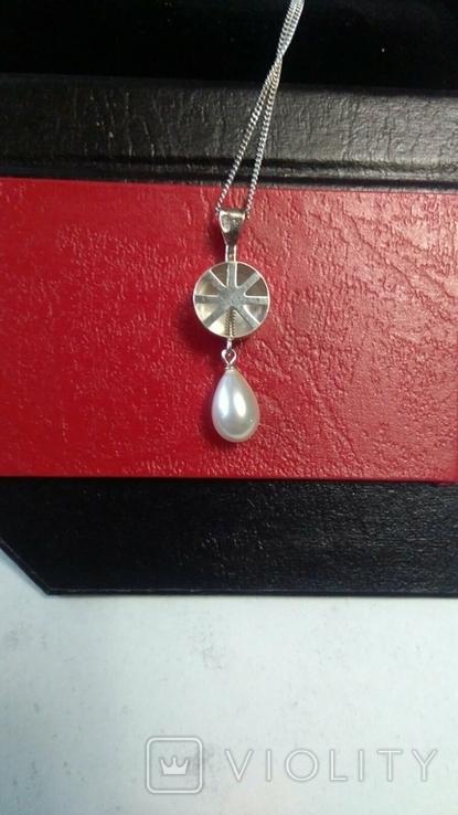 Серебряный кулон с серебряной цепочкой в кулоне камень фианит, фото №4