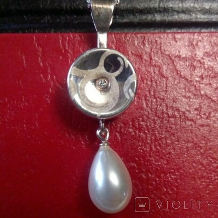 Серебряный кулон с серебряной цепочкой в кулоне камень фианит, фото №2