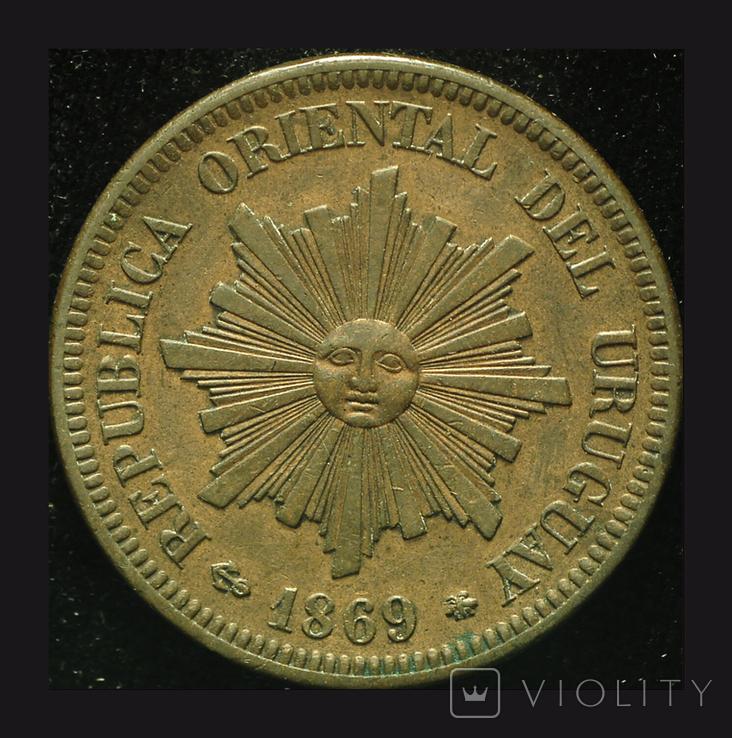Уругвай 2 сентесимос 1869 А Париж aUnc, фото №3