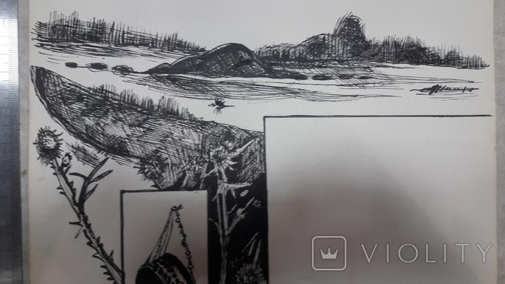 Малюнок на козацьку тему №2 туш,  підпис, фото №5