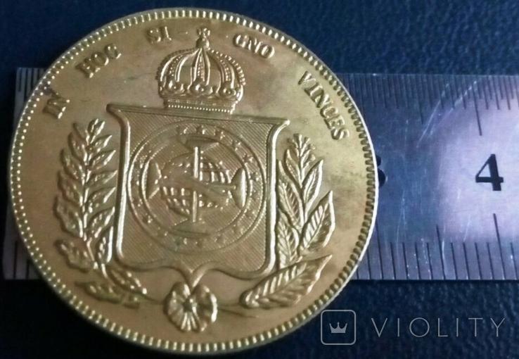Монета 1853 року Бразилія  /точна копія золотої/  не магнітна  позолота 999, фото №3