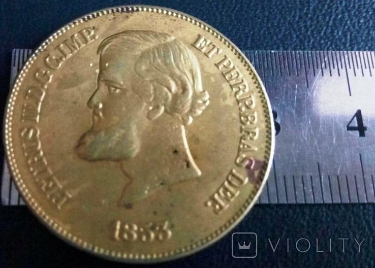 Монета 1853 року Бразилія  /точна копія золотої/  не магнітна  позолота 999, фото №2