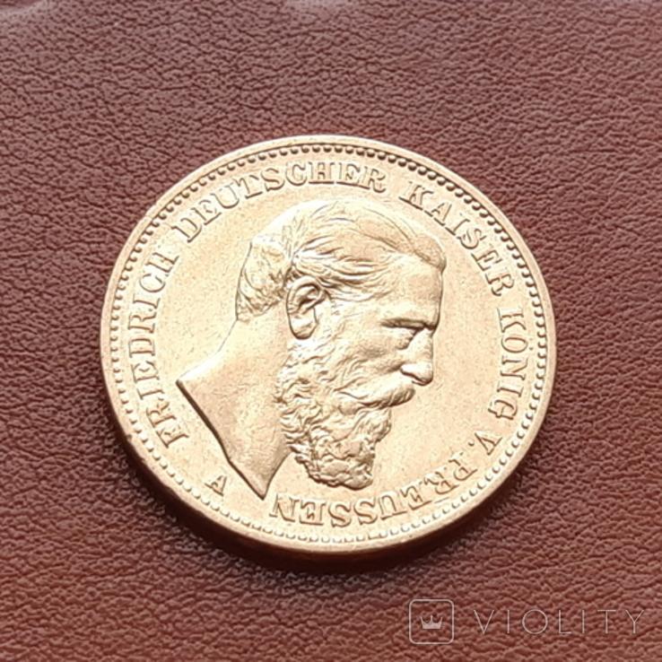 Золото. 20 марок 1888 г. Пруссия, фото №2
