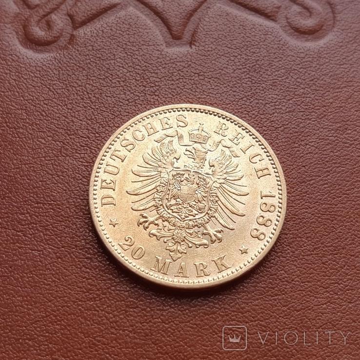 Золото. 20 марок 1888 г. Пруссия, фото №11