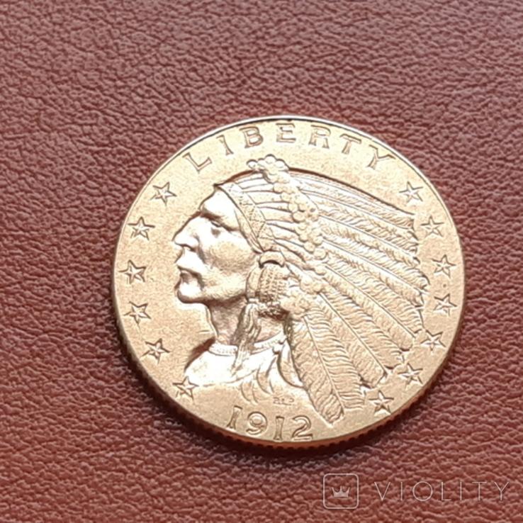2 1/2  доллара  США 1912 г. с изображением индейца., фото №2