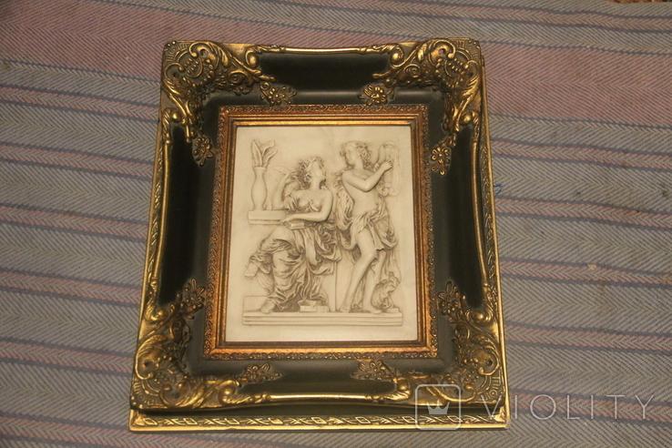 Картина  ,, Античний сюжет ,, Англія. Мраморная крошка. розмір в рамі 42Х37см., фото №2